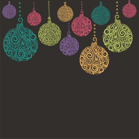 christmas baubles of modern design: beautiful Christmas background with Christmas balls Hanging . Great for greeting cards Illustration
