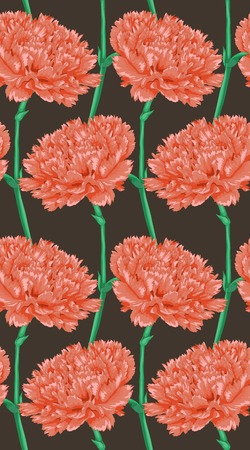 Beautiful seamless background with pink carnation. Hand-drawn with effect of drawing in watercolor Vector