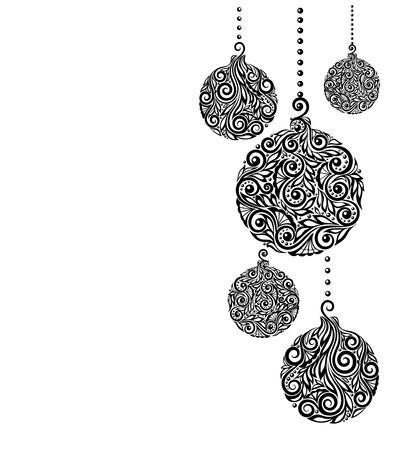 dessin noir et blanc: belle monochrome noir et blanc fond de Noël avec des boules de Noël suspendus. Idéal pour les cartes de v?ux