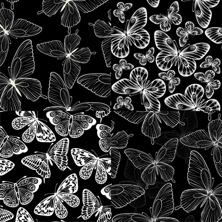 set of beautiful monochrome black and white seamless background with butterflies. Hand-drawn contour lines and strokes. Perfect for greeting cards and invitations to the day of the wedding, birthday Vector