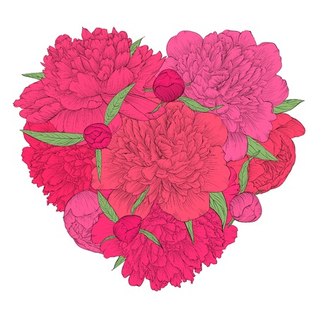 Beautiful heart decorated by flowers peony. Vintage template card, invitation, greetings, valentine. I love you. Vector