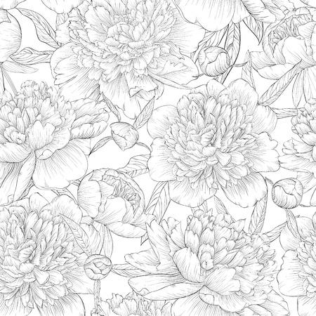 rosas negras: hermosa negro blanco y negro y fondo blanco sin costuras. peon�as con hojas y yemas. para tarjetas de felicitaci�n e invitaciones de boda, cumplea�os, D�a de San Valent�n, d�a de la madre y otro d�a de fiesta estacional Vectores