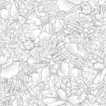 rosas blancas: hermosa negro blanco y negro y fondo blanco sin costuras. peonías con hojas y yemas. para tarjetas de felicitación e invitaciones de boda, cumpleaños, Día de San Valentín, día de la madre y otro día de fiesta estacional Vectores