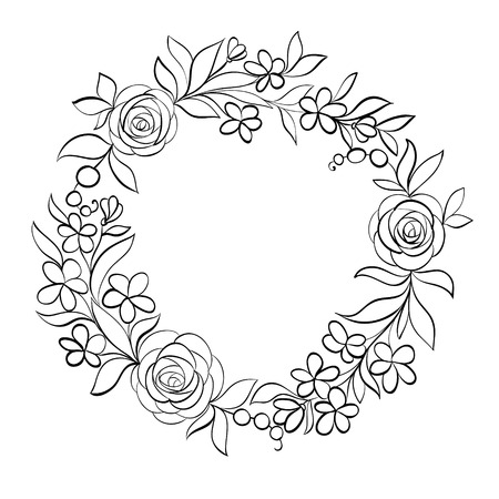 frame flower: Beautiful monochrome black and white Floral circular frame. Hand-drawn background for greeting cars and invitations of wedding, birthday, Valentines Day, mothers day and other seasonal holiday