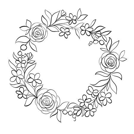 marco cumpleaños: Hermosa monocromático negro y blanco floral marco circular. Fondo dibujado a mano para el saludo coches y las invitaciones de boda, cumpleaños, Día de San Valentín, día de la madre y otro día de fiesta estacional