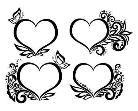 schwarz: Set mit schönen schwarz-weißen Symbol eines Herzens mit floralen Design und Schmetterling. für Grußkarten und Einladungen für Hochzeit, Geburtstag, Valentinstag, Muttertag und andere saisonale Urlaub