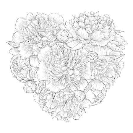 white roses: Beautiful monochrome black and white heart decorated by flowers peony. I love you. for greeting cards and invitations of wedding, birthday, Valentines Day, mothers day and other seasonal holiday Illustration