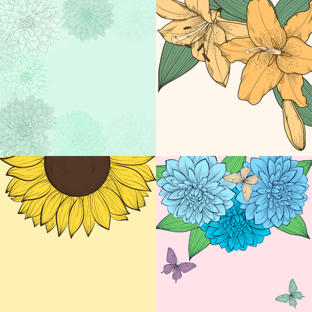 collage: beautiful set of background with space for text, frame of flowers. for greeting cards and invitations of wedding, birthday, Valentines Day, mothers day and other seasonal holiday Illustration