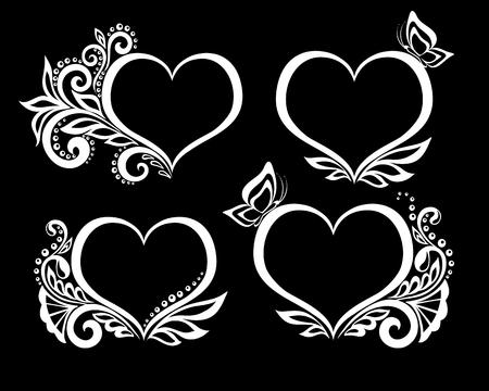 心が花のデザインと蝶の美しい白黒のシンボルのセットです。グリーティング カードと招待状結婚式、誕生日、バレンタインデー、母の日、他の季