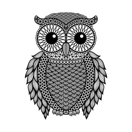 buhos: Zentangle estilizado B�ho Negro. Dibujado a mano ilustraci�n vectorial aislados en fondo blanco. Bosquejo de la vendimia para el dise�o de tatuaje o mehandi.