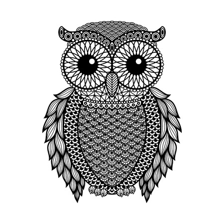 sowa: Zentangle stylizowane Czarny Sowa. Ręcznie rysowane ilustracji wektorowych na białym tle. Archiwalne szkic do projektowania tatuażu lub mehandi.