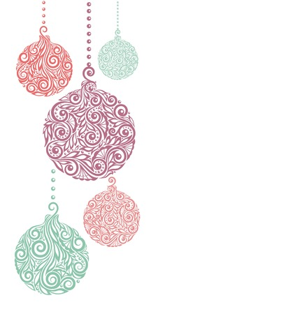 ornamental scroll: Christmas background with Christmas balls Hanging . Great for greeting card and invitation of the merry christmas and happy new year Illustration
