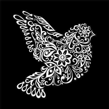 simbolo della pace: bello in bianco e nero Zentangle colomba stilizzata. abbozzo dell'annata per il disegno del tatuaggio o mehandi. biglietto di auguri e invito di nozze, di compleanno, San Valentino, del giorno e stagionale vacanza madre Vettoriali
