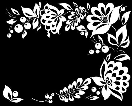 mooie zwart-witte bloem in de hoek. Met ruimte voor uw tekst en voor de wenskaart en uitnodiging van de bruiloft, verjaardag, Valentijnsdag, moederdag en seizoensgebonden vakantie