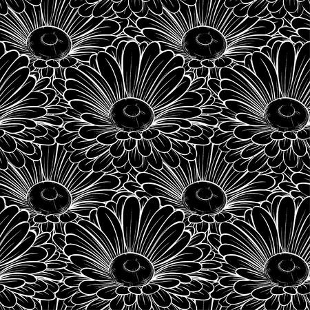 silhouette fleur: Belle fond sans soudure en noir monochrome et de fleurs blanches. cartes de voeux et invitations de mariage, anniversaire, Saint-Valentin, la fête des mères et autres fêtes saisonnières Illustration
