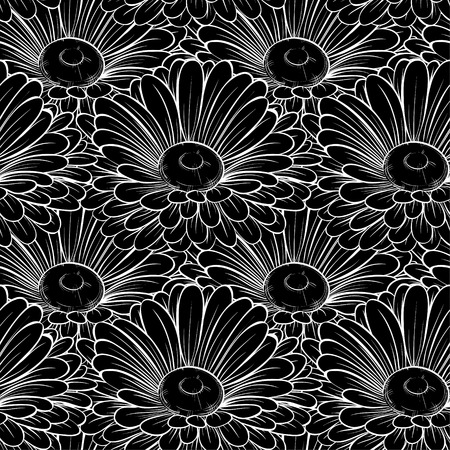 Beautiful seamless background with monochrome black and white flowers. greeting cards and invitations of the wedding, birthday, Valentines Day, mothers day and other seasonal holidays