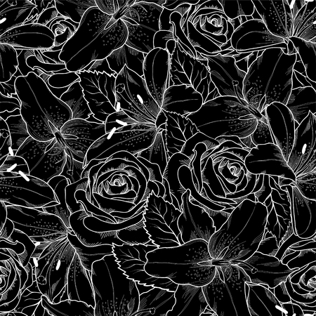 white roses: Beautiful seamless background with black and white lily and roses. for design for greeting card and invitation of the wedding, birthday, Valentines Day, mothers day and other seasonal holiday Illustration