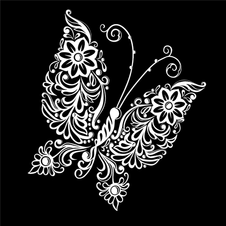 bordados: hermoso monocromático negro y mariposa blanca. tarjeta de felicitación del diseño y la invitación de la boda, cumpleaños, San Valentín, día de la madre y la temporada de vacaciones