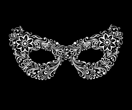mardi gras mask: beautiful monochrome black and white mask. tattoo design or  greeting card and invitation of wedding, birthday, Valentines Day, mardi gras, mothers day and seasonal holiday Illustration