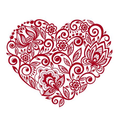 bella silhouette del cuore di fiori di pizzo, lascia. Isolati su bianco. disegno del tatuaggio o biglietto di auguri e invito di nozze, di compleanno, San Valentino, festa della mamma e stagionale vacanza