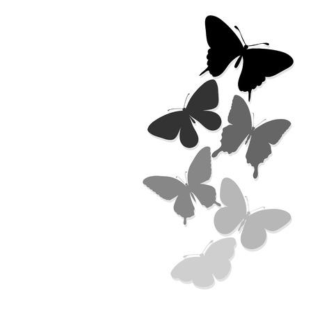 silhouette fleur: frontière des papillons qui volent avec un espace pour un message texte. arrière-plan pour la conception de la carte de voeux et d'invitation du mariage, anniversaire, Saint-Valentin, le jour de mère et d'autres vacances saisonnière