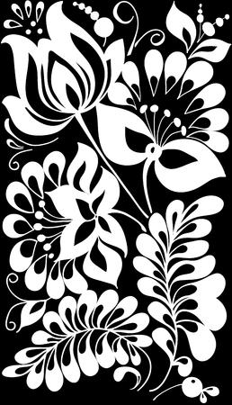 silhouette fleur: beau noir monochrome et de fleurs blanches et de feuilles isolées. Floral design pour carte de voeux et invitation de mariage, anniversaire, Saint-Valentin, la fête des mères et des vacances saisonnière