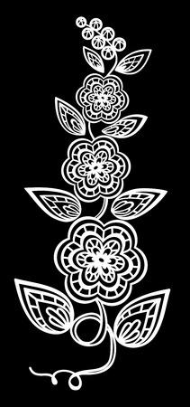 broderie: beau noir monochrome et de fleurs blanches et de feuilles isolées. Floral design pour carte de voeux et invitation de mariage, anniversaire, Saint-Valentin, la fête des mères et des vacances saisonnière