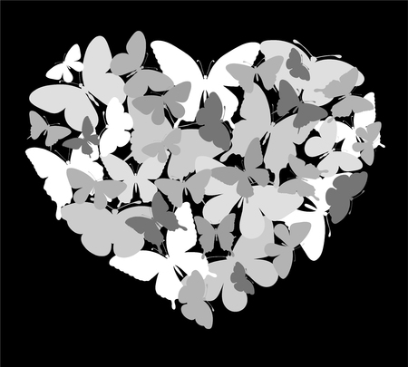 white heart: beautiful black and white silhouette heart of butterflies flying. background for design greeting card and invitation of the wedding, birthday, Valentines Day, mothers day and other seasonal holiday Illustration