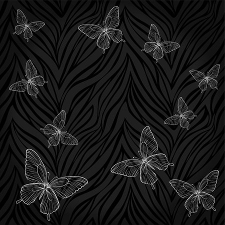 Beautiful seamless background. butterflies on abstract print. background for design for greeting card and invitation of the wedding, birthday, Valentines Day, mothers day and other seasonal holiday