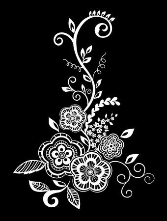 Hermoso monocromático negro y flores blancas y hojas aisladas. diseño floral para la tarjeta de felicitación y la invitación de la boda, cumpleaños, San Valentín, día de madre y vacaciones de temporada Foto de archivo - 54699231