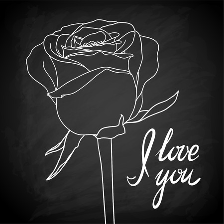chalk outline: Beautiful rose outline drawn on the blackboard with the text I love you. for design greeting card and invitation of the wedding, birthday, Valentines Day, mothers day and other seasonal holiday