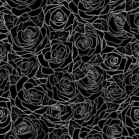 rosas negras: hermoso patrón sin fisuras en blanco y negro de las rosas. fondo para el diseño de la tarjeta de felicitación y la invitación de la boda, cumpleaños, San Valentín, día de la madre y otra temporada de vacaciones