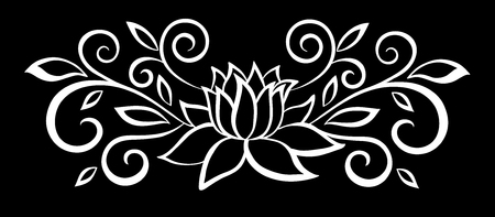 beau noir monochrome et de fleurs blanches et de feuilles isolées. Floral design pour carte de voeux et invitation de mariage, anniversaire, Saint-Valentin, la fête des mères et des vacances saisonnière