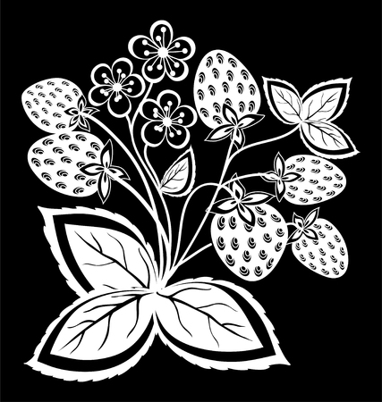 Mooie zwart-wit zwart-witte aardbei, bloem met bladeren en wervelingen geïsoleerd. Bloemen ontwerp voor wenskaart en uitnodiging van bruiloft, verjaardag, Valentijnsdag, moederdag en seizoensgebonden vakantie