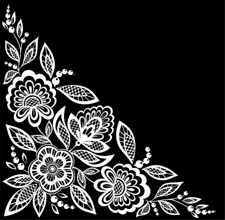 guipure: beautiful monochrome black and white flowers and leaves isolated. Floral design for greeting card and invitation of wedding, birthday, Valentines Day, mothers day and seasonal holiday Illustration