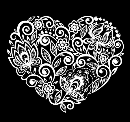 beautiful silhouette of the heart of lace flowers, leaves. Isolated on white. tattoo design or  greeting card and invitation of wedding, birthday, Valentine's Day, mother's day and seasonal holiday  イラスト・ベクター素材