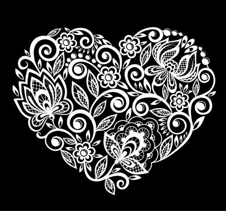 Mooi silhouet van het hart van kant bloemen, bladeren. Geïsoleerd op wit. tattoo ontwerp of wenskaart en uitnodiging van de bruiloft, verjaardag, Valentijnsdag, moederdag en seizoensgebonden vakantie Stockfoto - 54699279