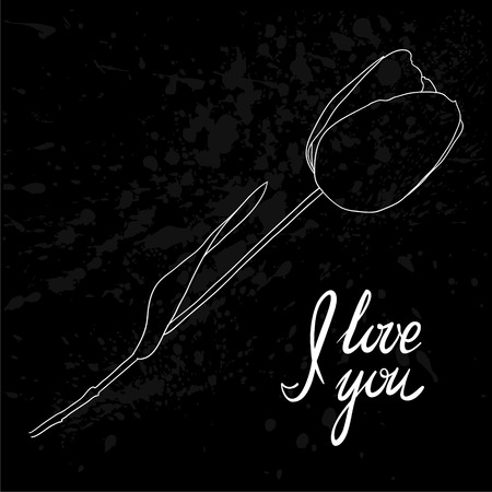 chalk outline: Beautiful Tulip outline with the text I love you. for design greeting card and invitation of the wedding, birthday, Valentines Day, mothers day and other seasonal holiday