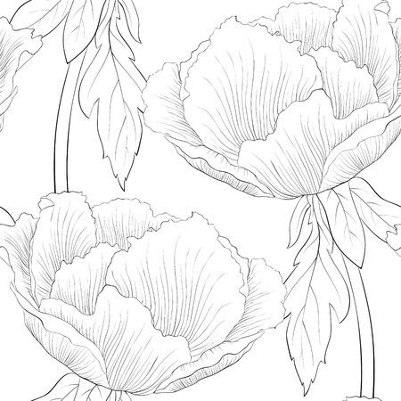patrones de flores: hermosas flores sin patrón blanco y negro. fondo para el diseño de la tarjeta de felicitación y la invitación de la boda, cumpleaños, San Valentín, día de la madre y otra temporada de vacaciones Vectores