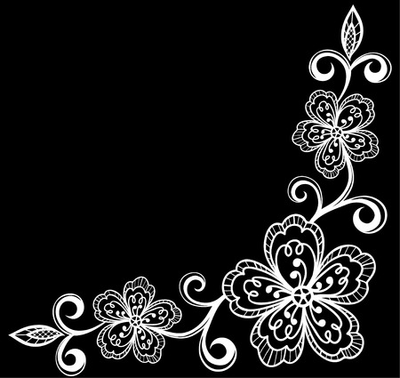 corner: beautiful monochrome black and white flowers and leaves isolated. Floral design for greeting card and invitation of wedding, birthday, Valentines Day, mothers day and seasonal holiday Illustration