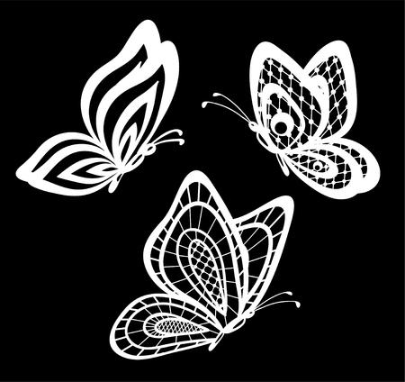 bordado: conjunto de bellas mariposas en blanco y negro de encaje guipur aislados. diseño floral para la tarjeta de felicitación y la invitación de la boda, cumpleaños, San Valentín, día de madre y vacaciones de temporada Vectores
