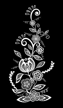 bordados: hermoso monocromático negro y flores blancas y hojas aisladas. diseño floral para la tarjeta de felicitación y la invitación de la boda, cumpleaños, San Valentín, día de madre y vacaciones de temporada