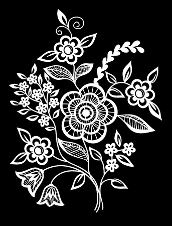 embroidery: beautiful monochrome black and white flowers and leaves isolated. Floral design for greeting card and invitation of wedding, birthday, Valentines Day, mothers day and seasonal holiday Illustration