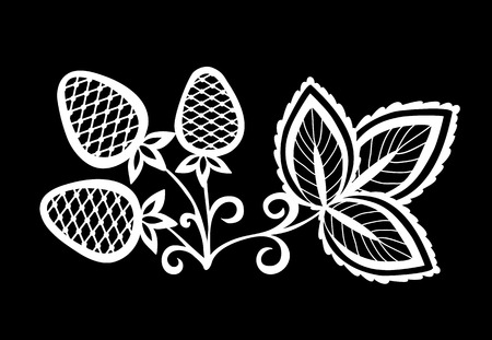 black swirls: beautiful monochrome black and white strawberry, flower with leaves and swirls  isolated. Floral design for greeting card and invitation of wedding, birthday, Valentines Day, mothers day and seasonal holiday