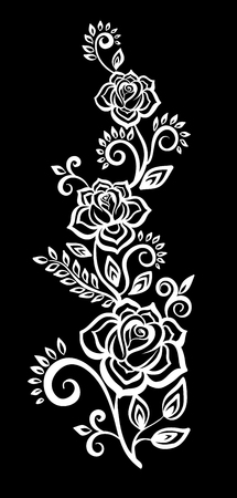 beautiful monochrome black and white flowers and leaves isolated. Floral design for greeting card and invitation of wedding, birthday, Valentines Day, mothers day and seasonal holiday Ilustração