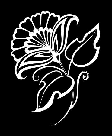 line art: hermoso monocrom�tico negro y flores blancas y hojas aisladas. dise�o floral para la tarjeta de felicitaci�n y la invitaci�n de la boda, cumplea�os, San Valent�n, d�a de madre y vacaciones de temporada