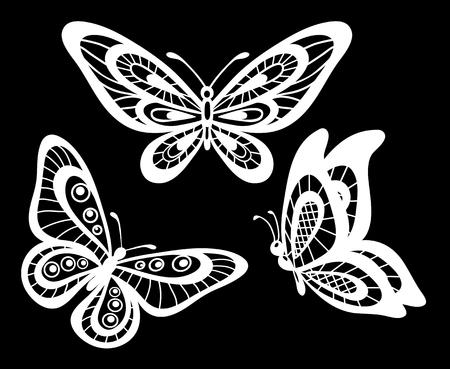 mariposa: conjunto de bellas mariposas en blanco y negro de encaje guipur aislados. diseño floral para la tarjeta de felicitación y la invitación de la boda, cumpleaños, San Valentín, día de madre y vacaciones de temporada Vectores