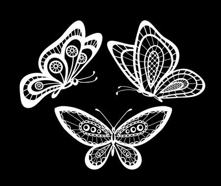 bordados: conjunto de bellas mariposas en blanco y negro de encaje guipur aislados. diseño floral para la tarjeta de felicitación y la invitación de la boda, cumpleaños, San Valentín, día de madre y vacaciones de temporada Vectores