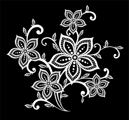 vines: beautiful monochrome black and white flowers and leaves isolated. Floral design for greeting card and invitation of wedding, birthday, Valentines Day, mothers day and seasonal holiday Illustration
