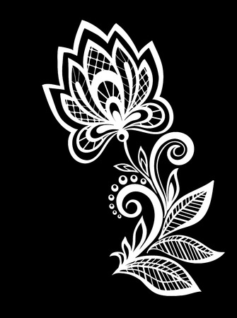 beautiful monochrome black and white flowers and leaves isolated. Floral design for greeting card and invitation of wedding, birthday, Valentines Day, mothers day and seasonal holiday Illustration